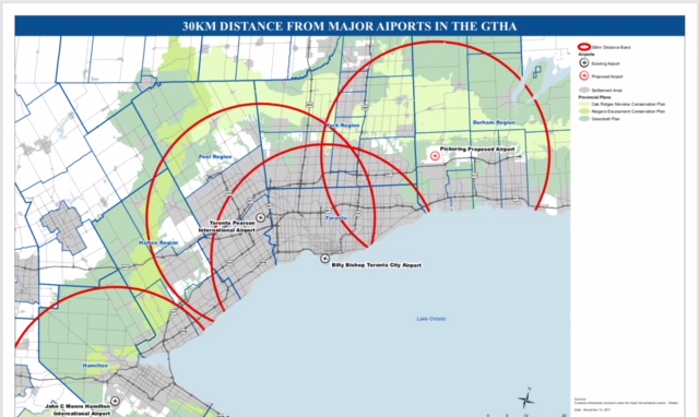 Pickering and Toronto's Major Jet  Airports.